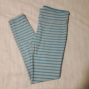 Under Armour Striped Grey & Teal leggings M